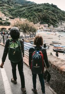 Kids in Europe with backpacks