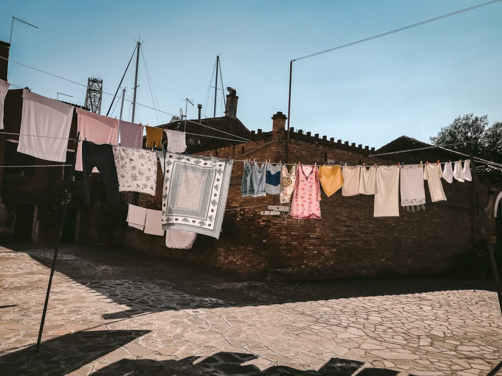 Laundry on clothesline in Italy