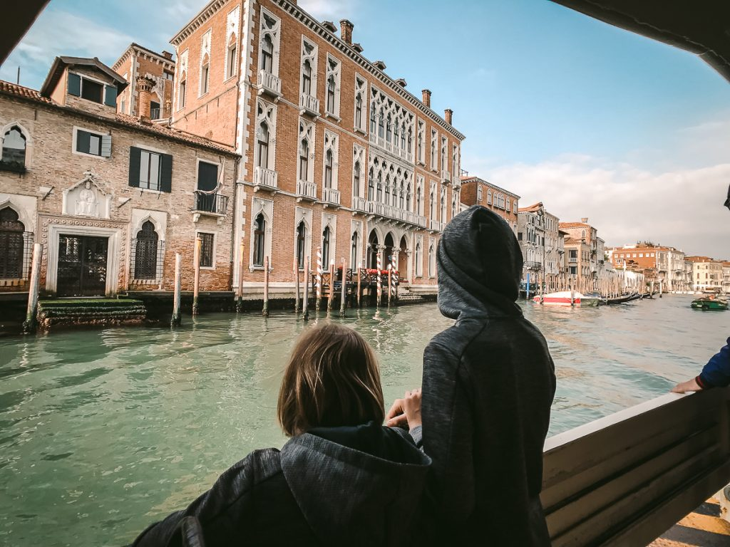 Venice with Kids on water bus