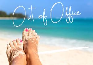 Feet on tropical beach